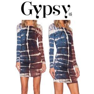 GYPSY 05 Navy Bamboo Ruched Shirred Mini Dress L